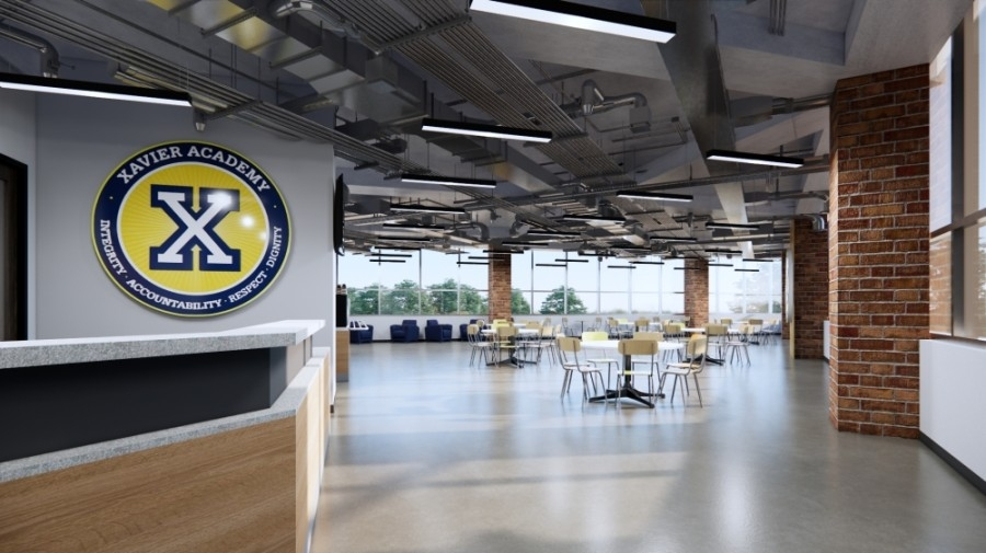 Designs show the concept for the administration area of a new 32,000-square-foot campus being planned by Xavier Educational Academy. (Courtesy Xavier Educational Academy)