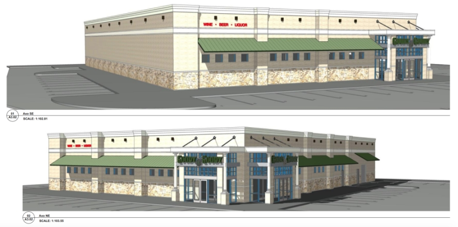 Elevations showing the front of the proposed Goody Goody store