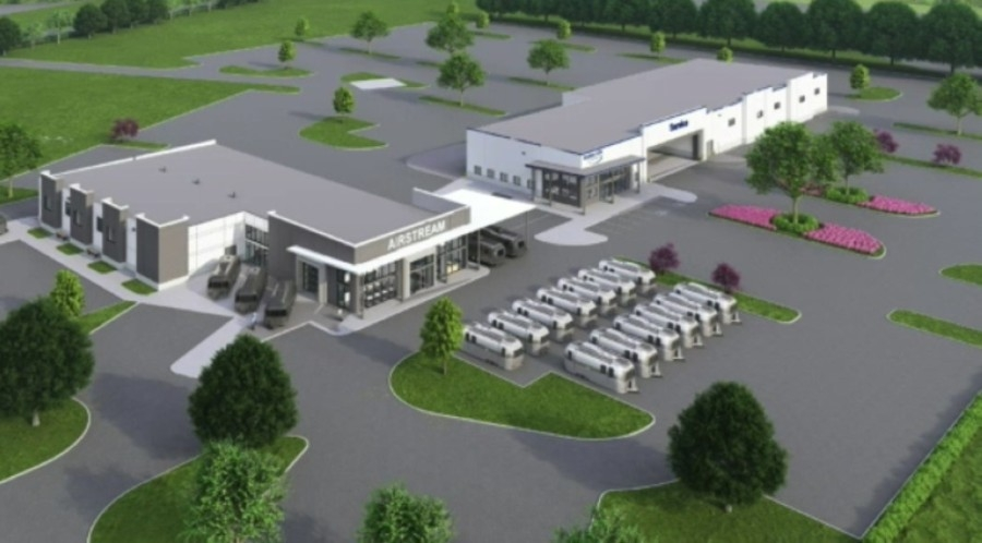 A rendering shows two new buildings planned for Airstream and ExploreUSA in Buda. (Courtesy city of Buda)