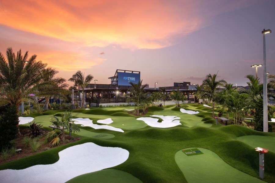 The first Texas location of PopStroke, a Florida-based golf entertainment facility designed by Tiger Woods, is coming to the Katy area in 2022. (Courtesy Newquest Properties)