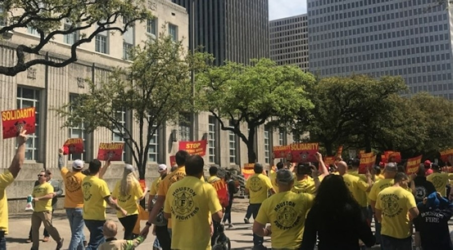 houston firefighters rally