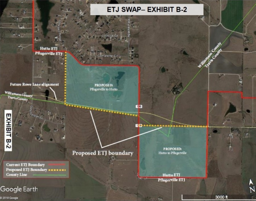 The agreement swaps comparable-sized parcels of land in extraterritorial jurisdictions of the cities of Hutto and Pflugerville along the Williamson County and Travis County lines. (Courtesy Tiemann Land and Cattle Development Inc.)