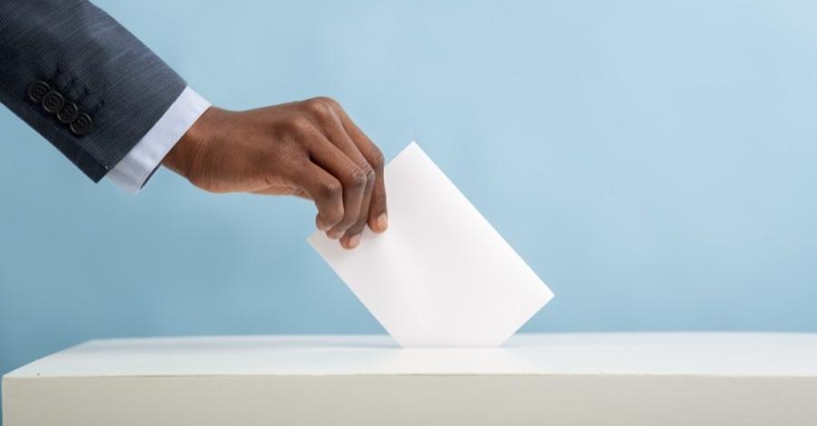 Hand casting ballot stock image