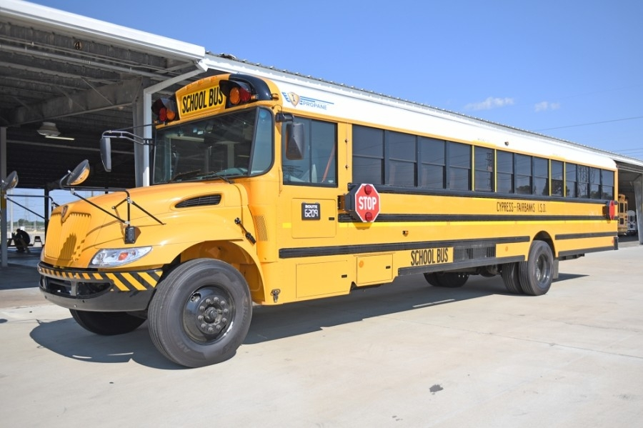 Cy-Fair ISD recently added 266 propane buses to its total fleet. Funded by the 2019 bond package, the buses account for approximately 30% of the district's total fleet and provide cleaner emissions. (Courtesy Cy-Fair ISD)