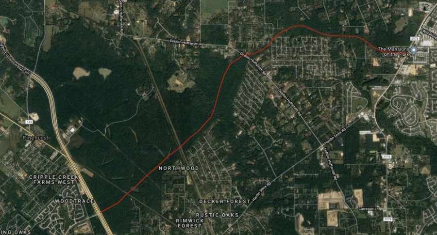 The Westwood Magnolia Parkway Improvement District is funding an extension of Woodtrace Boulevard from Hwy. 249 in Magnolia to FM 2978. (Screenshot via Google)