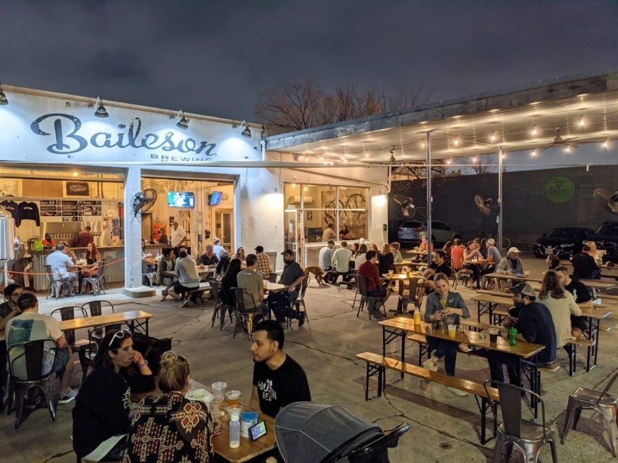 The name of Baileson Brewing Co. on Bissonnet Street in Houston was concocted by merging the names of the owners' dogs, Bailey and Jameson. Their influence shapes the brewery, from the logo to the dog-friendly atmosphere. (Courtesy Baileson Brewing Co.)