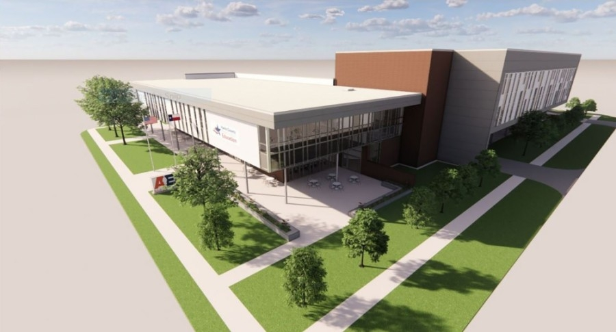 The new Adult Education Center will be located at 6515 Irvington Blvd., Houston. (Rendering courtesy Cre8 Architects)