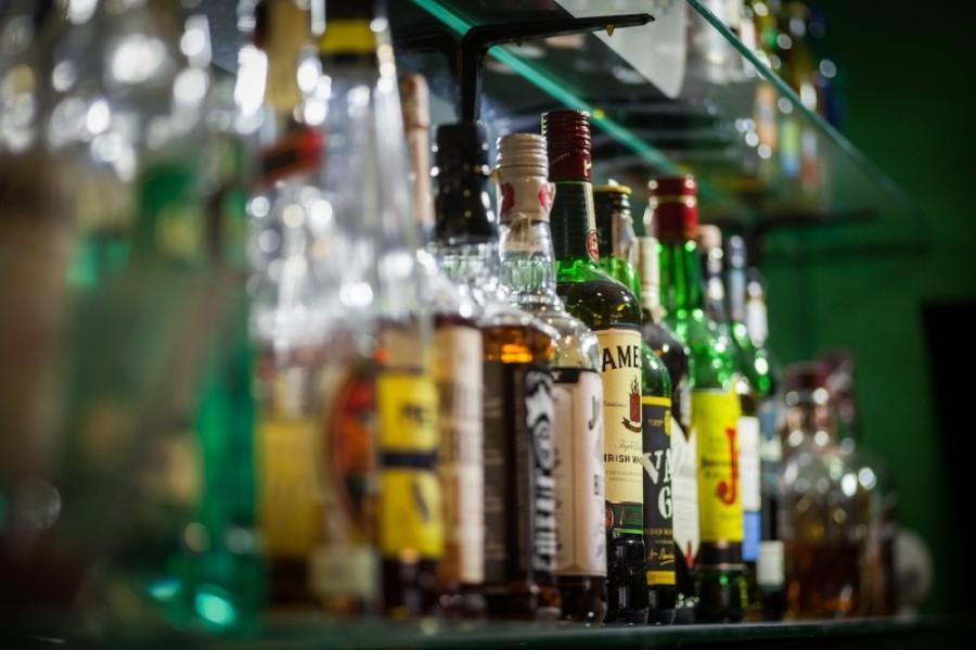Liquor bottles on a shelf