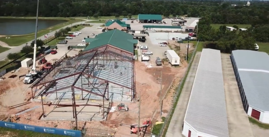 Construction is underway for an expansion to the criminal justice building in Magnolia. (Screenshot via Montgomery County Precinct 2)