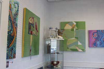 The gallery features art from Judith Estrada Garcia and other local artists. (Fernanda Figueroa/Community Impact Newspaper)