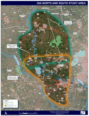 Hwy. 36A has not been approved as a project, so the route of the road has not been decided. However, this map shows the study area for the road. (Courtesy Highway 36A Coalition)