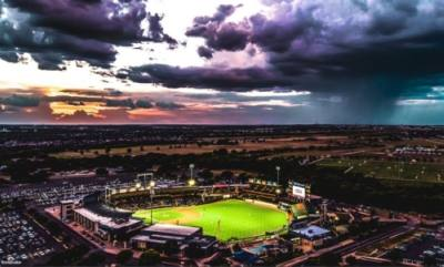 The Round Rock Express play at Dell Diamond against the Sugar Land Skeeters on May 13, the first game without the mask requirement. (Courtesy city of Round Rock)