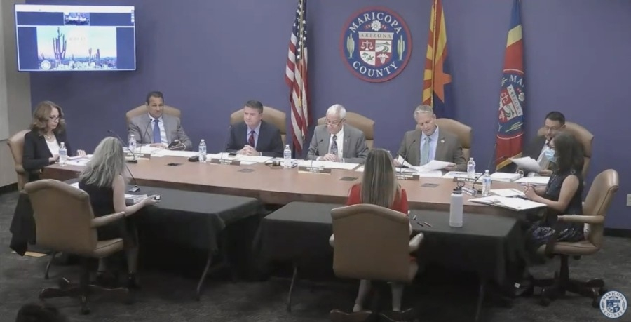 The Maricopa County Board of Supervisors met May 17. (Screen capture from YouTube)