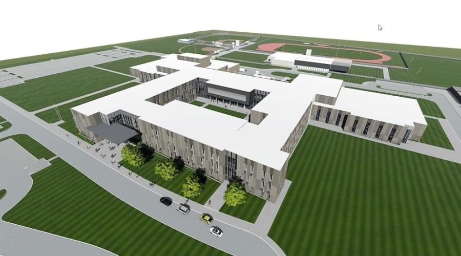 Comprehensive High School No. 3's will be named West Fork High School.  (Renderings courtesy New Caney ISD)