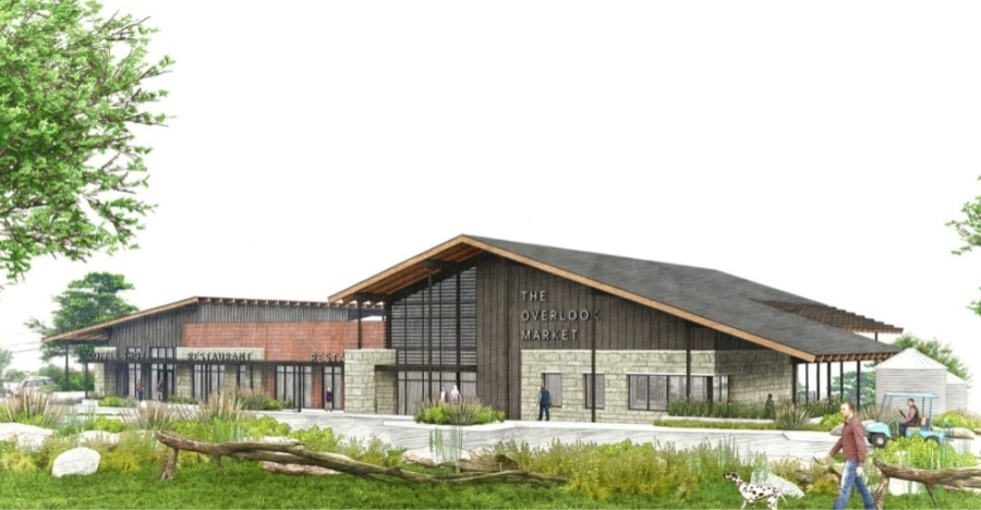 Overlook Market will be constructed near the intersection of Haynie Flat Road and Paleface Ranch Road in Spicewood. (Rendering courtesy Levy Architects)