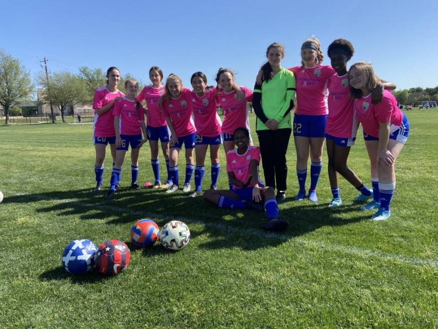 These GSA girls ages 11-14 play competitively. (Courtesy Georgetown Soccer Association)