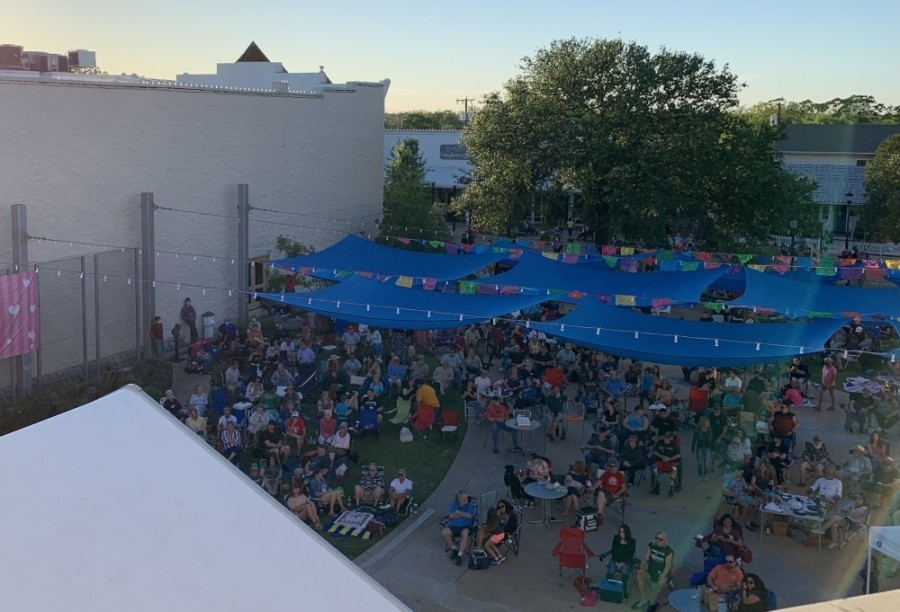 The music series takes place in Prete Main Street Plaza every Wednesday in May at 6 p.m. (Megan Cardona/Community Impact Newspaper)