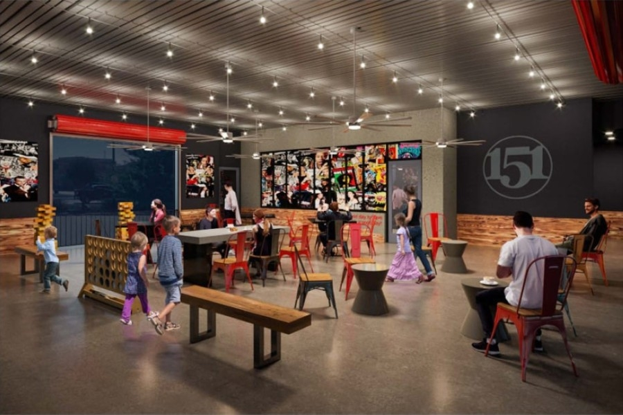 A rendering of the interior of 151 Coffee, with tables, seating, giant Jenga and giant Connect Four