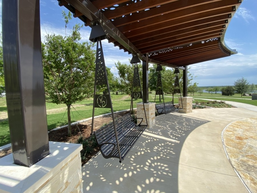 Yonders Point was completed May 20. The addition to Old Settlers Park offers an area to relax with swings, pergolas and lounges. (Courtesy Round Rock Parks and Recreation Department)