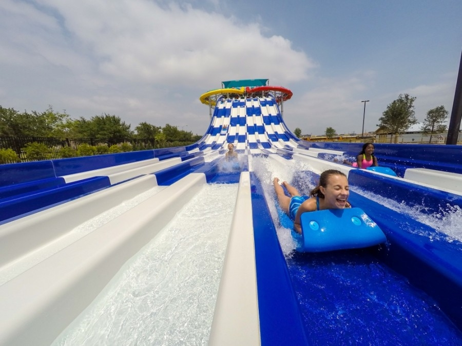 Lone Star Racers, an attraction at Typhoon Texas, allows guests to race down the slide to the finish line. (Courtesy Typhoon Texas)