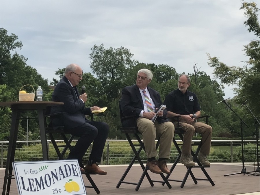 Franklin Mayor Ken Moore (left) spoke on the city's response to the COVID-19 pandemic. (Wendy Sturges/Community Impact Newspaper)