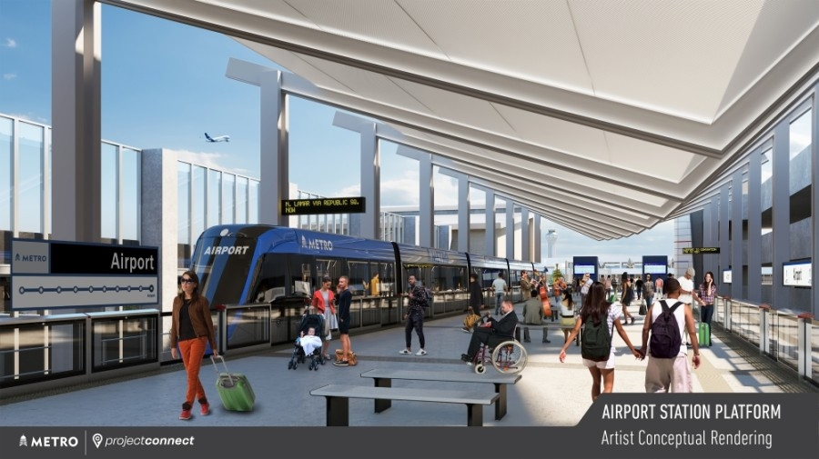A rendering shows a possible design for the Blue Line rail station at Austin-Bergstrom International Airport. (Rendering courtesy Capital Metro)