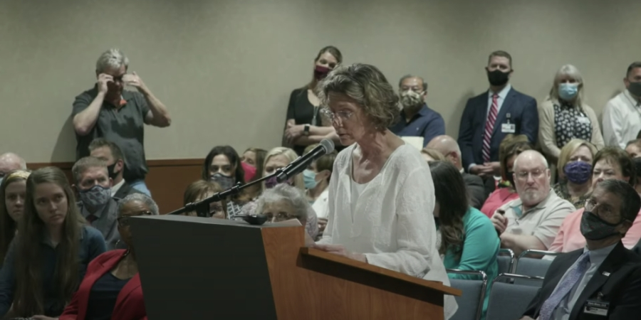 Area resident Cathie Locetta speaks against critical race theory during a Conroe ISD board meeting. (Screenshot via YouTube)