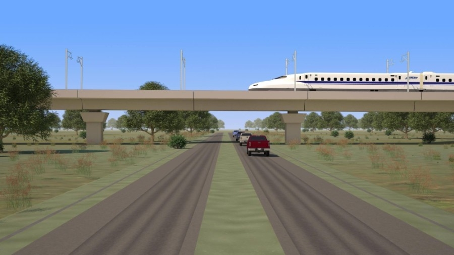Officials with Texas Central announced earlier this month a $1.6 billion contract with Kiewit Infrastructure South Co. and affiliate Mass. Electric Construction Co. to install the train's core electrical systems. (Rendering courtesy Texas Central)
