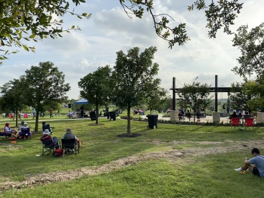 Residents of Round Rock joined the city in celebration of the Yonders Point grand opening with a Movie in The Park and live music. (Brooke Sjoberg/Community Impact Newspaper)
