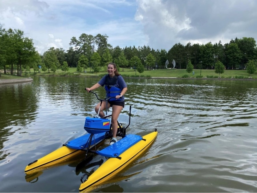 Water bikes are available for rent at both The Woodlands boat houses. (Courtesy The Woodlands Township)