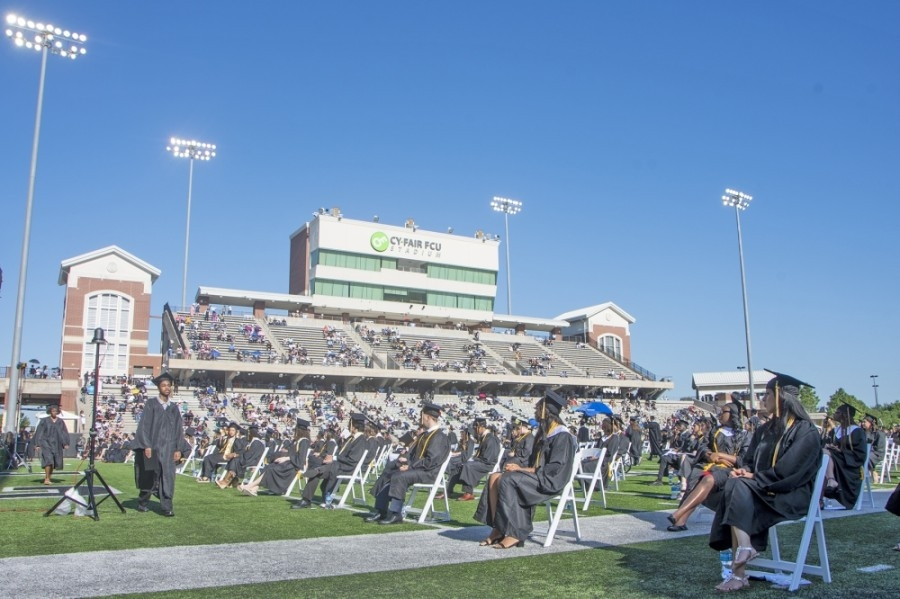 Cypress Park High School held its first commencement ceremony June 6, 2020, at Cy-Fair FCU Stadium. (Courtesy Cy-Fair ISD)