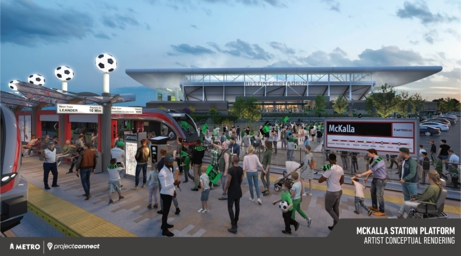 A rendering shows the McKalla Station near Austin FC's Q2 Stadium, which is scheduled to break ground in 2022. (Rendering courtesy Capital Metro)