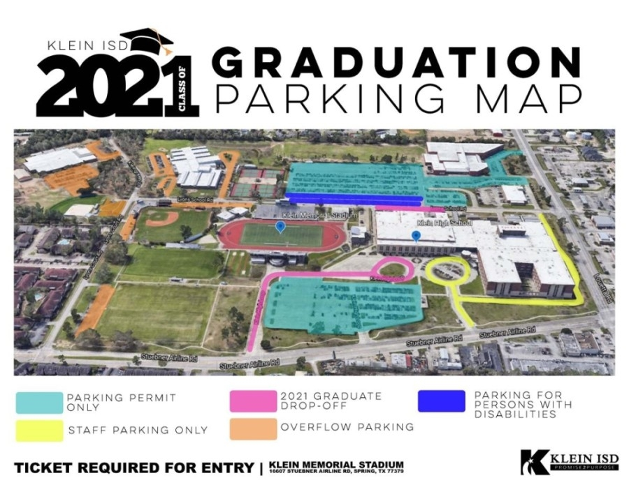 All Klein ISD graduation ceremonies will be held at Klein Memorial Stadium, which is located at 16607 Stuebner Airline Road, Spring. (Courtesy Klein ISD)