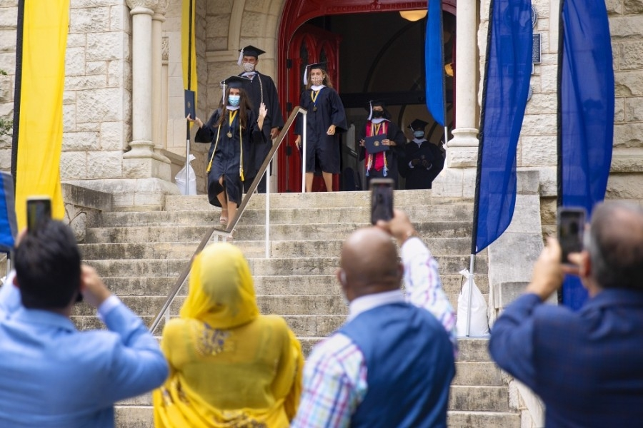St. Edward's University held a socially distanced baccalaureate mass May 9 to celebrate the classes of 2020 and 2021. (Courtesy Chelsea Purgahn/St. Edward's University)