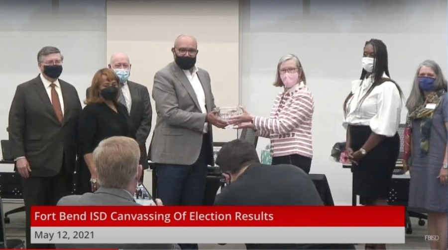 Fort Bend ISD held a ceremony May 12 recognizing outgoing trustees Grayle James and Addie Heyliger. (Screenshot courtesy Fort Bend ISD)