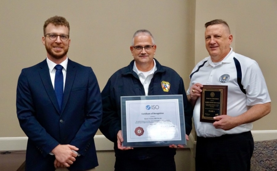 From left: Joel Duke, property protection class officer from the Texas State Fire Marshal's Office, AFD Chief Mike Mulligan and Tom Truver, board President of the Harris County Emergency Services District No. 46. (Courtesy Atascocita Fire Department)