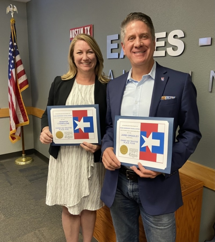 Jennifer Champagne and James Spradley completed their oaths of office during a May 25 board meeting. (Courtesy Eanes ISD)