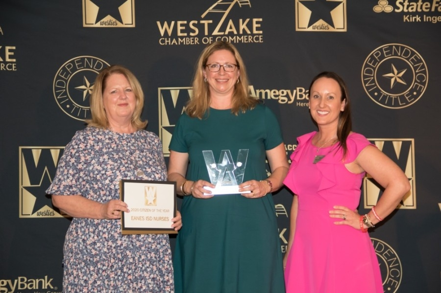 From left: Eanes ISD nurses Holly Hubble and Lori Boldrick accepted the 2020 citizen of the year award alongside Eanes ISD trustee Heather Sheffield at the annual Westies Awards. (Courtesy Westlake Chamber of Commerce)