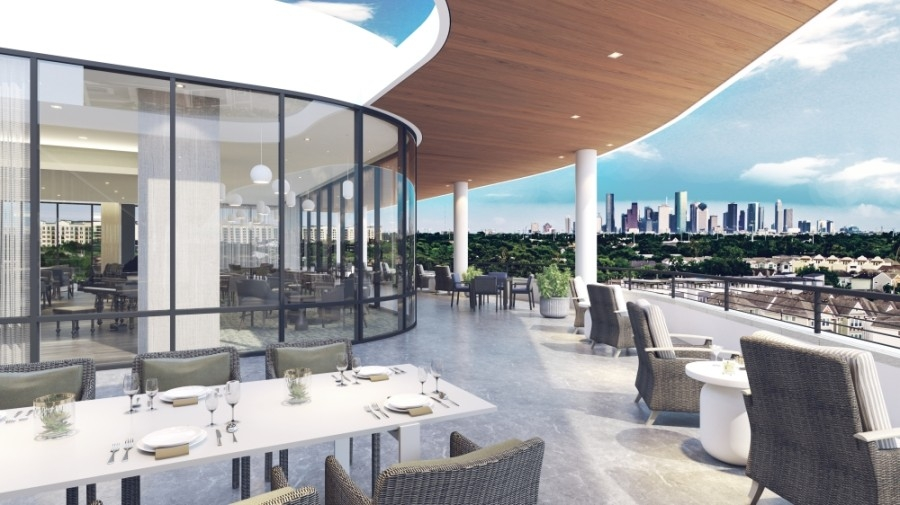 A rooftop terrace and patio will provide views of the downtown Houston skyline. (Courtesy Watermark Retirement Communities)