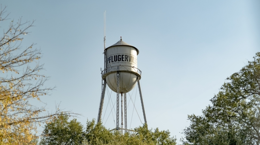 The historic water tank was constructed in 1935 and will remain intact during the utility project. (Courtesy city of Pflugerville)