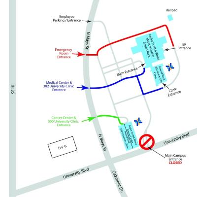 map of main entrance to Baylor Scott & White Health