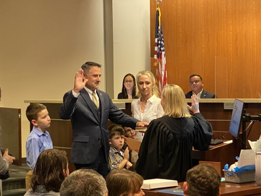 Matthew Baker was sworn in for a second term in Place 3 on the Round Rock City Council May 27. (Community Impact Newspaper/Brooke Sjoberg)