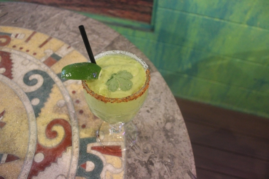 The avocado margarita is a specialty at Curra's Grill. (Olivia Aldridge/Community Impact Newspaper)