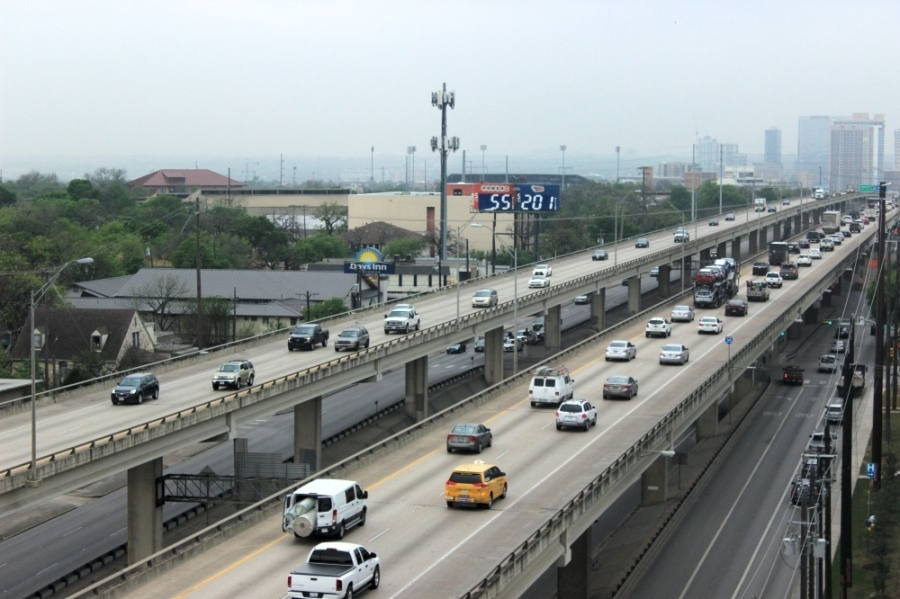 Traffic moves along the upper decks of I-35 through Central Austin. A report released June 1 by the Congress for the New Urbanism named I-35 in Austin as one of the highways most need of removal in the U.S. (Jack Flagler/Community Impact Newspaper)