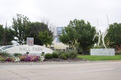 Hall Park street sign and art installation