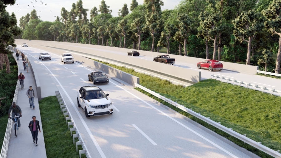 The project will expand Gosling Road and replace the bridge. (Rendering courtesy The Howard Hughes Corp.)