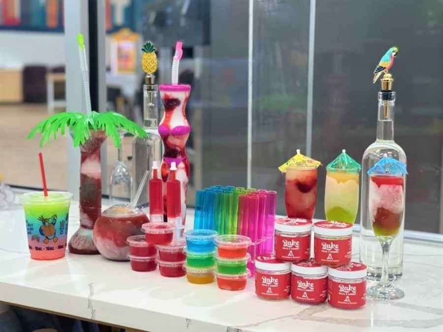 The business offers 12 daiquiri flavors, which can be combined to create custom flavors and are available in four sizes. (Courtesy Airtex Washateria & Daiquiris To-Go)