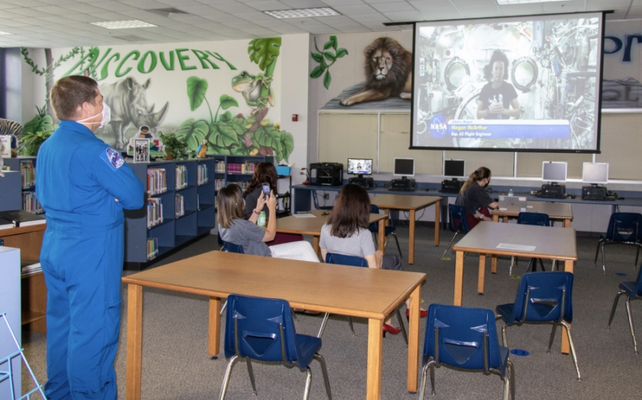 McArthur's husband, NASA Astronaut Bob Behnken, was also present and took over for the final few student questions from the Robinson Elementary library. (Courtesy of Clear Creek ISD)