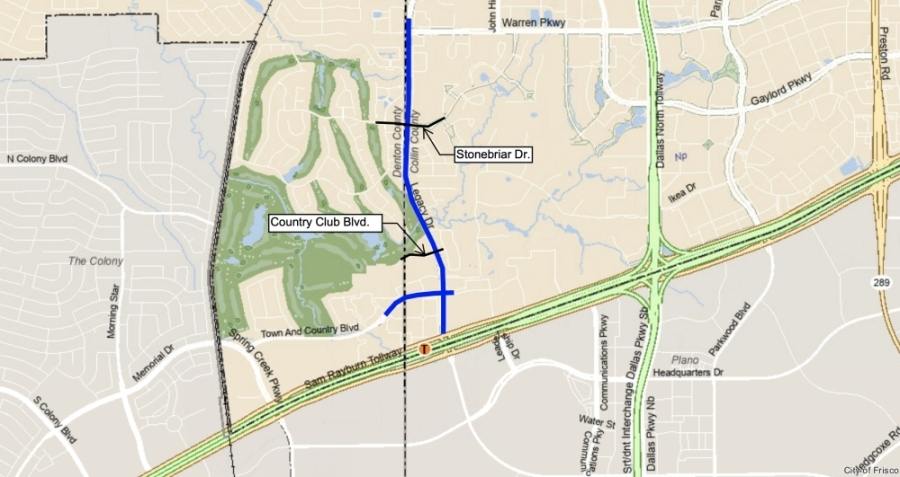 map highlighting portion of Legacy Drive