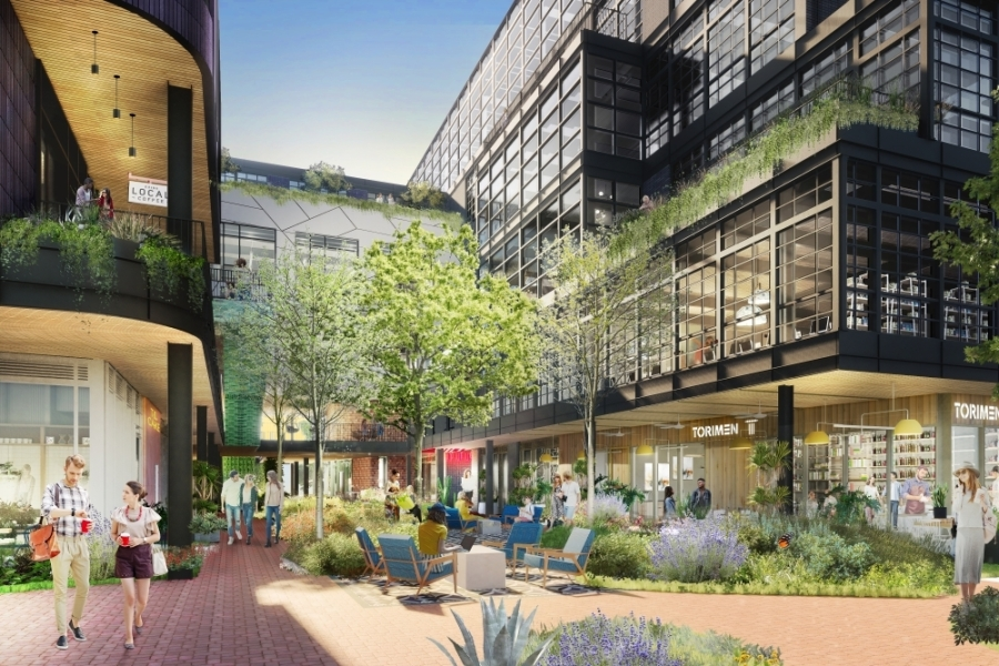 This rendering shows the mix of office and retail uses that are possible with the Montrose Collective, which is slated for completion this summer. (Courtesy Michael Hsu Office of Architecture)